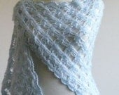 Blue Hand Crocheted Lace  Very Soft Mohair Wrap Scarf