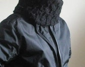 BLACK COWL NECKWARMER WITH BUTTON KNITTING HAND KNITTED