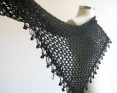 Love Black Lace Wrap Crochet Triangle Shawl