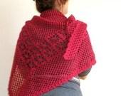 BURGUNDY SHAWL Scarf Crochet Lace TRIANGLE  Women Fashion Holiday Shrug Cowl Neckwarmer