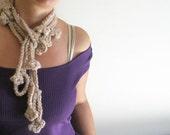 Crochet Jewelry Long Crochet Flower Scarf Scarflette Necktie Necklace Beige Caramel Lariat Rose Cable