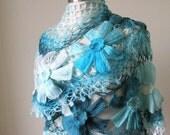 Shawl. Turquoise Ivory Shawl. Spring Fashion. Triangle Scarf Stole READY TO SHIPPING