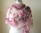 Pink Colors Ivory Triangle Shawl