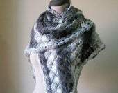 Ivory Grey Shawl, Crochet Triangle Stole, Scarf  Wrap Winter Fall Spring Fashion. READY TO SHIPPING