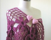 Pink Shawl Stole Scarf Triangle Handmade Gift for Her Spring Fashion READY TO SHIPPING
