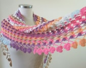 Shawl Crazy Shawl Triangle  Colorful Handcrocheted Wrap Scarf winter fashion. READY TO SHIPPING - filofashion