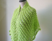Crochet Shawl Lime Green Handcrocheted Scarf  Shimmery Spring Fashion READY TO SHIPPING