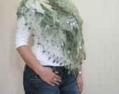SALE Wedding Shawl Green Scarf Flower Flower Crochet Shawl Very Soft Triangle Scarf READY
