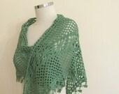 Shawl Green Bamboo Shawl, Crochet Classy Wrap Spring Fashion READY TO SHIPPING