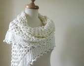 Wedding IVORY SHAWL, Hand CROCHET Wedding Gown, Elegant For Brides Very Soft Scarf. Spring Fashion