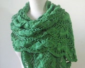 Green Shawl Handmade Scarf Wrap Very Soft Stole