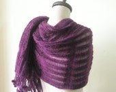 Purple Knit Shawl, Holiday Accessories, Shawl RECTANGLE, , Knit Wrap,Handmade Knitting Scarf, Free Shipping,