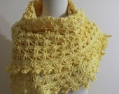 Crochet Shawl Yellow  Gift For Her Spring Fashion READY TO SHIPPING
