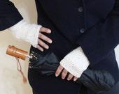 Ivory Fingerless Gloves Gift For Her NEW