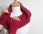 EXPRESS DELIVERY,Red Infinity Cowl Fingerless Gloves Mittens, Fall Trend Hand Knit For Her Winter Fall Holiday Accessories