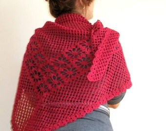 BURGUNDY SHAWL Scarf Crochet Lace TRIANGLE  Women Fashion Holiday Shrug Cowl Neckwarmer