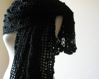 Black Shawl RECTANGLE Handmade