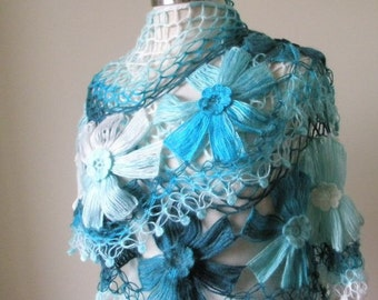 Shawl. Turquoise Ivory Shawl. Spring Fashion. Triangle Scarf Stole READY TO SHIPPING