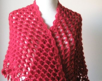Shawl Handmade Red SHAWL Triangle Crochet Wrap