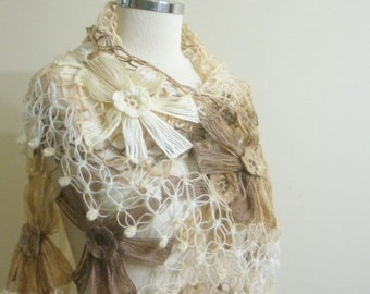 Shawl. Feminine Flower Shawl, Light Brown Caramel Ivory Colorful Triangle Stole New Spring Fashion READY TO SHIPPING