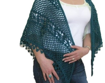 Shawl Spring Fashion Triangle Shawl Scarf Teal Green Stole NEW Gift For Her Chic Wrap Holiday Accesoires