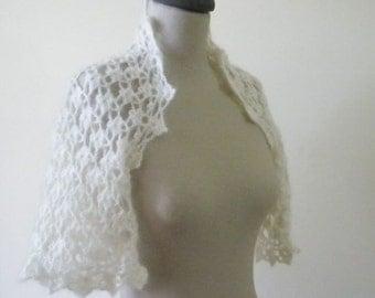 Romantic Ivory Shrug New Year's For Bride Bridal Mohair - Crochet Wedding Bolero Jacket EXPRESS DELIVERY