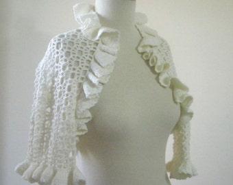 Ivory Shrug Wedding Shrug Bride Shrug  Romantic Shrug Crochet Cream Wedding Bridal Boleros