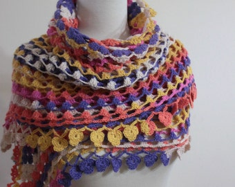Shawl Crazy Colorful Triangle  Colorful Handcrocheted Shawl Scarf Winter Fall Fashion Gift Trend READY TO SHIPPING