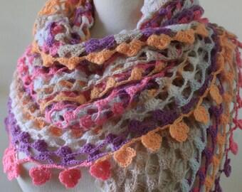 Lace Shawl Colorful Shawl Triangle Shawl Handcrocheted Shawl Scarf Winter Fashion Winter Scarf Fall Shawl