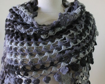 Shawl Spring Trend Wrap Winter Accessories Fall Fashion Crochet Shawl Triangle Grey Colors Handcrocheted Scarf READY TO SHIPPING