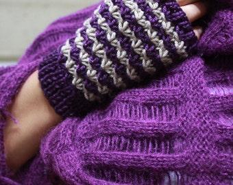 Purple Beige Knitting  Fingerless Gloves Gift For Her NEW