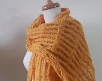 Orange Shawl Scarf Holiday Accessories Knitting RECTANGLE Handmade  Stole Wrap Spring Fashion