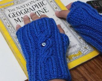 NEW Sapphire Blue  Fingerless Gloves Cobalt Fresh Holiday Gift For Her