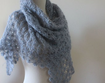 Shawl Crocheted Lacey Grey Wrap  Handmade Shawl Crochet Triangle  Scarf Chic Gift winter fashion Spring Trend Fall Holiday Accessoires