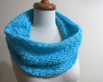 Lace Cowl Turquoise Cowl Crochet Scarf Blue Cowl Winter Fashion Fall Fashion Handmade Capelet