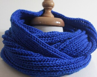 Infinity Winter Accessories, Blue Cowl Fall Trend Hand Knit Gift For Him For Her Holiday Fashion winter fashion. READY TO SHIPPING