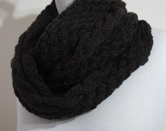 Infinity Cowl Brown Fall Trend Hand Knit Gift For Him For Her Holiday Fashion Father's Day . READY TO SHIPPING
