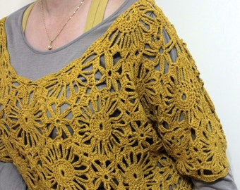 Blouse Mustard Crochet So Chic and Pretty / Spring Fashion  /Holiday Accessories / Fall Fashion- Gift For Her READY TO SHIPPING