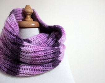 Infinity Colorful Purple Cowl Winter  Fall Trend Hand Knit Gift For Him For Her Holiday Fashion READY TO SHIPPING