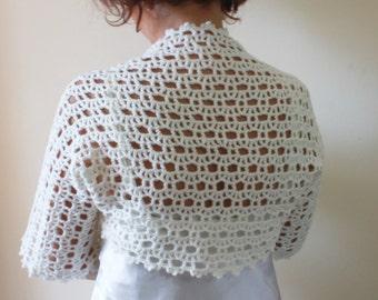 Wedding Ivory Bolero, Cream Shrug / Crochet Fashion Spring Fashion READY TO SHIPPING