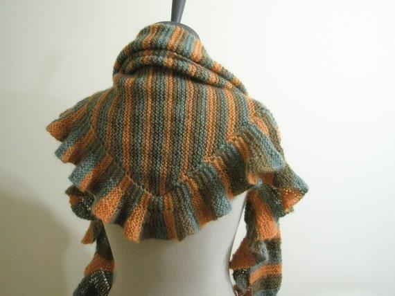 Knitting Shawl Green Orange  Scarf Shawl Holiday Accessories Fashion
