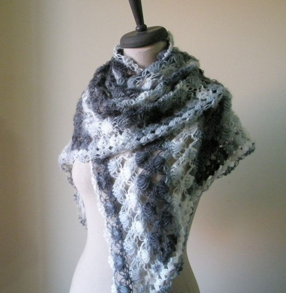Ivory Grey Shawl, Crochet Triangle Stole, Scarf  Wrap Winter Fall Spring Fashion. READY TO SHIPPING