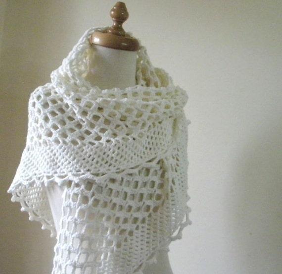 Crochet Lace Wedding Shawl Pattern : Handmade Spark - filofashion - Wedding IVORY SHAWL, Hand ...