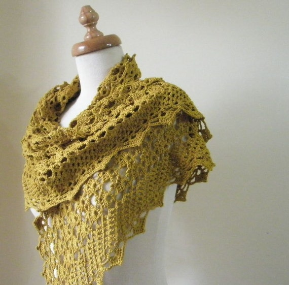 Reserve for Joanna Mustard Shawl Crochet Handmade Shawl Lace Stole Wrap Triangle Citrine Scarf