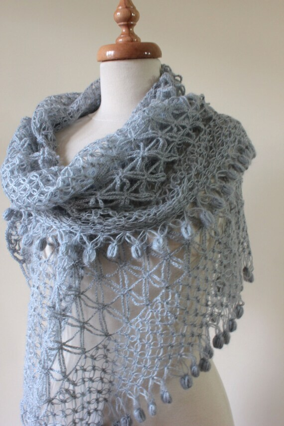 Grey Lace Love Shawl Triangle FREE SHIPPING Spring Fashion Gift For Her