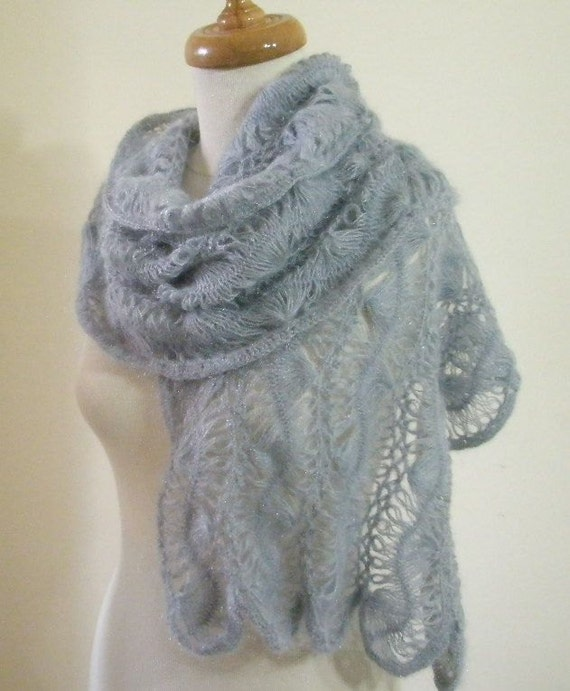 Grey Lace Shawl. Crochet Rectangle Scarf. Spring Fashion. Shrug Stole Neckwarmer READY TO SHIPPING