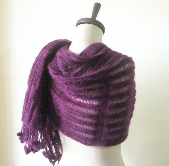 Purple Knit Shawl, Holiday Accessories, Shawl RECTANGLE, , Knit Wrap,Handmade Knitting Scarf, Free Shipping,