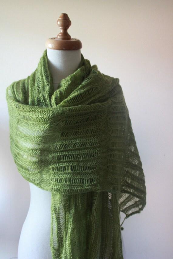 Green Shawl RECTANGLE Knitting Fashion Ready  To Shipping