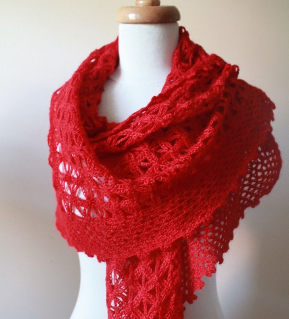 Red Star Shawl Triangle Crochet Scarf Mohair Acrylic Stole Wrap Lace Shawl