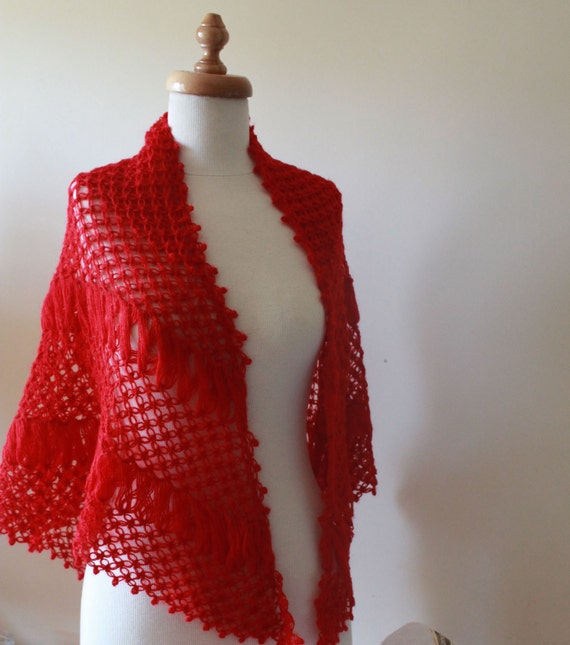 Red SHAWL, Women Winter Accessories - Autumn Scarf Stole Wrap - Elegant Gift For Her Holiday Accessories